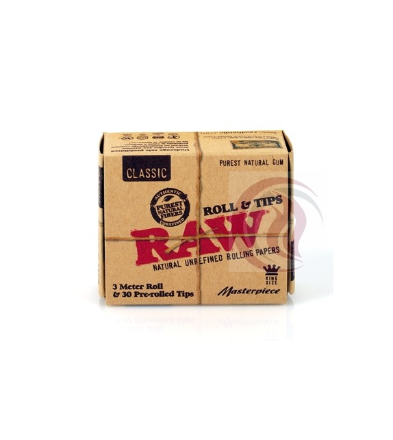 RAW - ROLL - CLASSIC 3M - KING SIZE + 30 PRE ROLLED TIPS