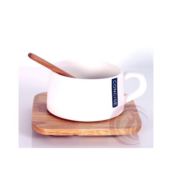 Κούπα με Ξύλινο Πιατάκι και Κουτάλι - Concise