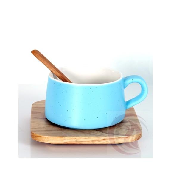 Κούπα με Ξύλινο Πιατάκι και Κουτάλι - Ciel