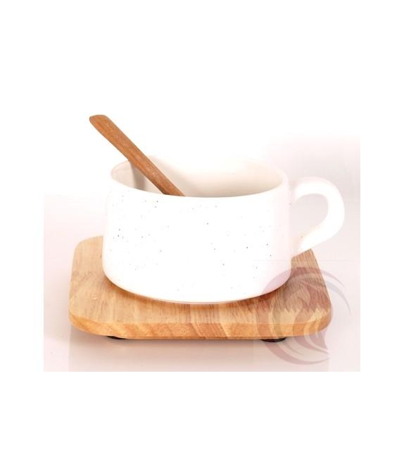 Κούπα με Ξύλινο Πιατάκι και Κουτάλι - Λευκή