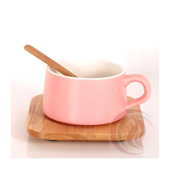 Κούπα με Ξύλινο Πιατάκι και Κουτάλι - Pink