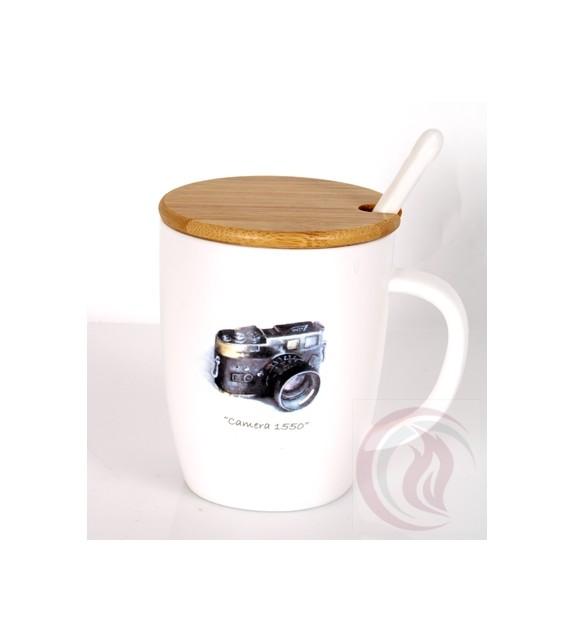 Κούπα με Ξύλινο Καπάκι - Camera