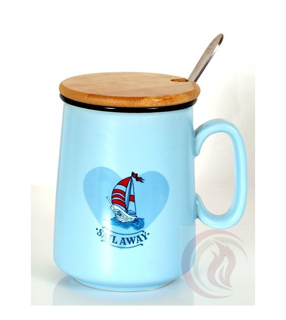 Κούπα με Ξύλινο Καπάκι - Sail Away