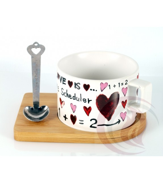 Κούπα με Ξύλινο Πιατάκι και Μαγνητικό Κουτάλι - Love White