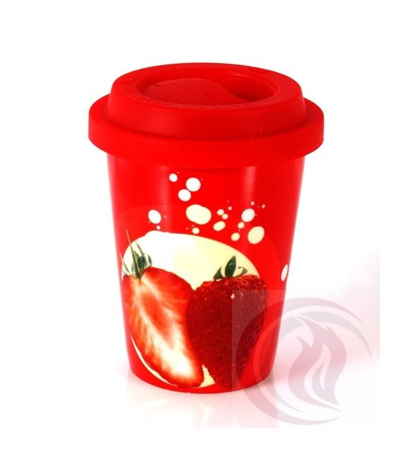 Κούπα με Καπάκι Σιλικόνης - Strawberry