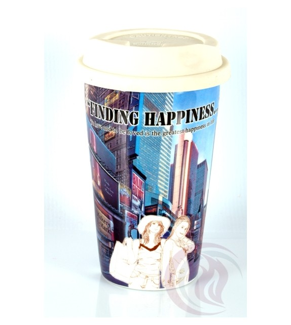 Κούπα με Καπάκι Σιλικόνης - Happiness