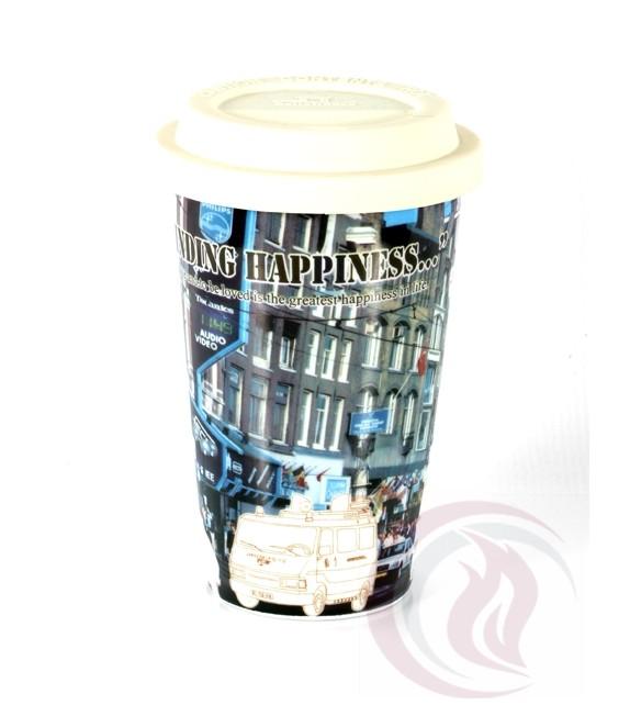 Κούπα με Καπάκι Σιλικόνης - Happiness City